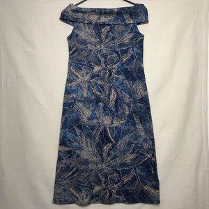 Lauren RL Blue Off The Shoulder Dress Size Large